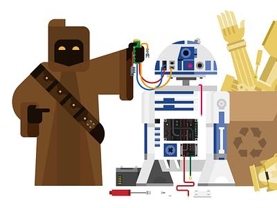 404 404 c3po r2d2 junk recycle jawa illustration droids star wars