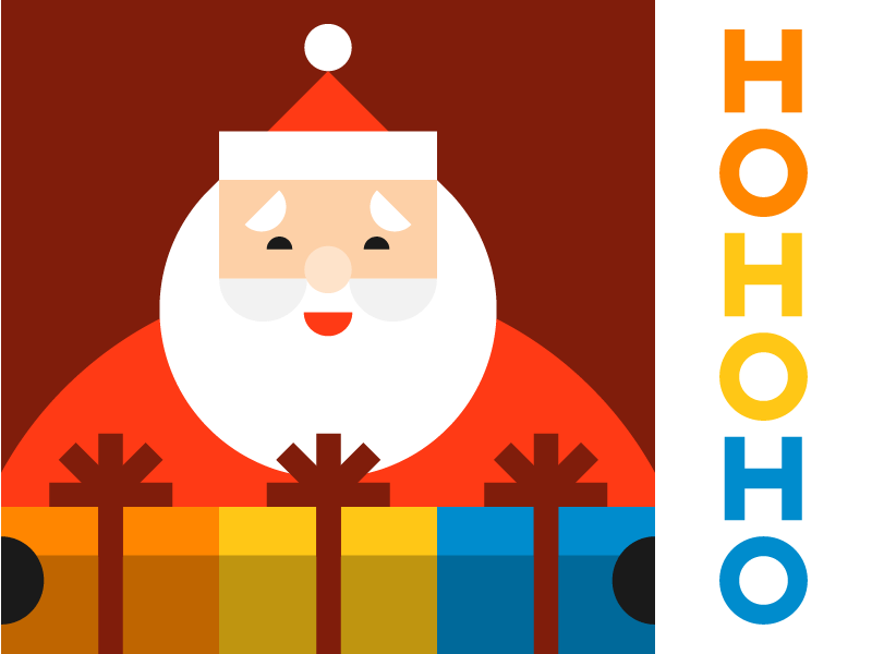 HOHOHO vector cheer repetition presents claus shapes illustration gifts holiday christmas santa