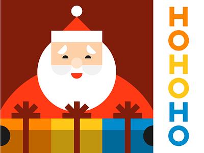 HOHOHO vector cheer repetition presents claus shapes illustration gifts holiday christmas santa