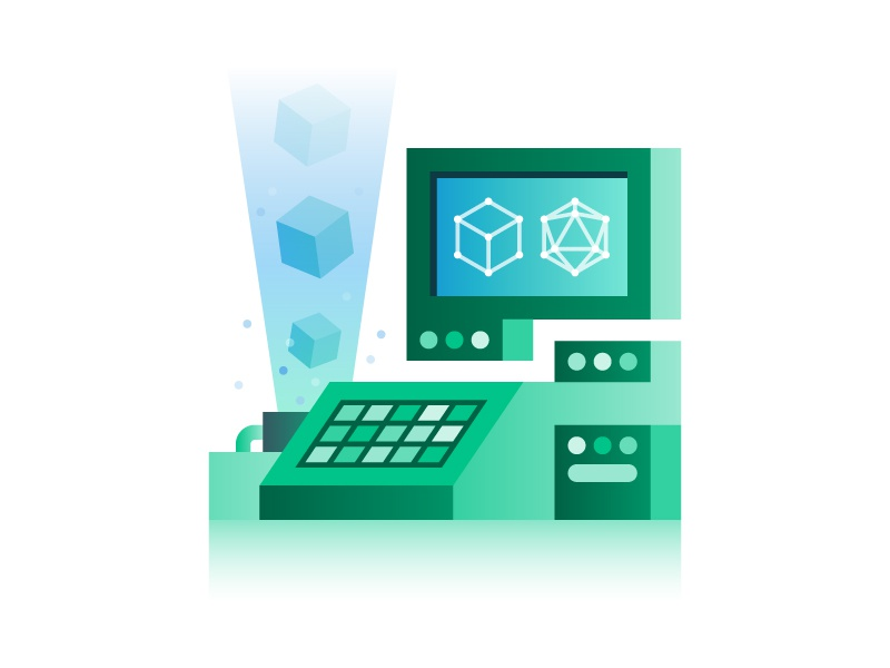 Build Anything platonic solid monitor vector software build developer code terminal computer illustration