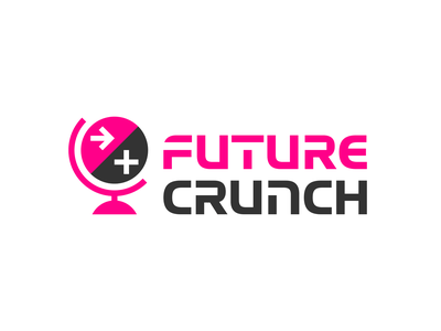 Future Crunch Logo Outtake society economics technology science branding lettering arrow forward optimism news global globe world future identity logotype logo