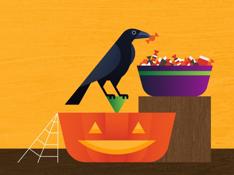 Treat for a Trickster trickortreat bowl spooky october autumn fall halloween modern geometric bird texture pumpkin trick treats candy jackolantern raven vector illustration