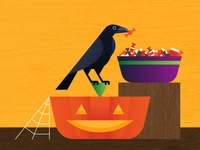 Treat for a Trickster trickortreat bowl spooky october autumn fall halloween modern geometric bird texture pumpkin trick treats candy jackolantern raven vector illustration
