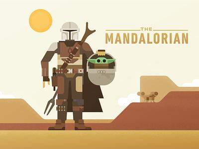 The Mandalorian science fiction illustration baby desert geometric vector bounty hunter scifi character disney mandalorian star wars