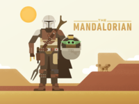The Mandalorian science fiction illustration baby desert geometric vector bounty hunter scifi character disney mandalorian star wars