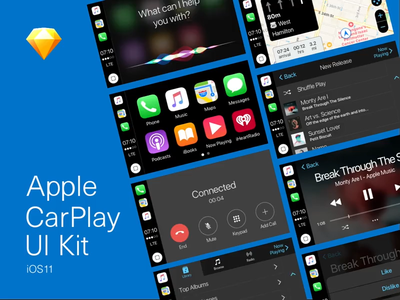iOS11 CarPlay UI Kit (Free Download) apple sketchapp ui kit ui kit design visual design design infotainment automotive carplay ios