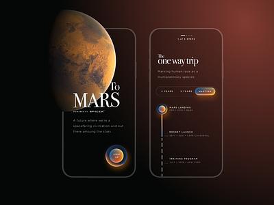 One way trip to Mars figma spacex rocket space mars ui