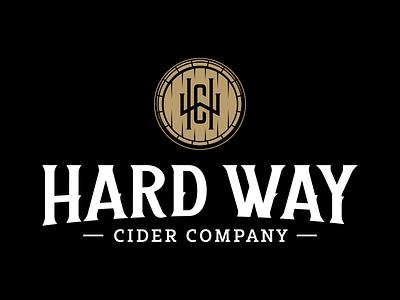 Hard Way Cider Logo premium vintage typography symbol barrel classic edgy cider whiskey mark monogram identity logoinspirations branding logo