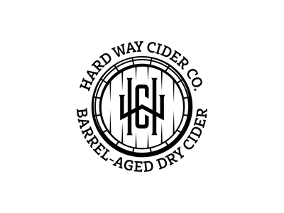 Hard Way Cider Crest classic vintage premium mark symbol whiskey cider barrel monogram crest identity branding illustration logoinspirations logo
