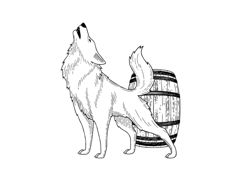 Hard Way Cider Illustration—Renegade renegade black and white barrel hard cider wolf packaging design packaging labeldesign cider label hand drawn branding illustration