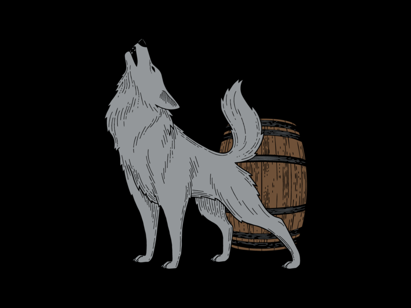 Hard Way Cider Illustration—Renegade hand drawn graphic design packaging label label design package design renegade hard cider cider barrel wolf illustration