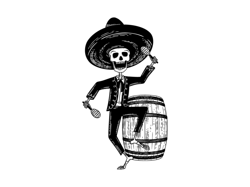 Hard Way Cider Illustration—Loco Blanco wood cut branding label design label packaging packaging design dancing anejo tequila maracas day of the dead mariachi band mariachi skeleton barrel hard cider cider illustration black and white
