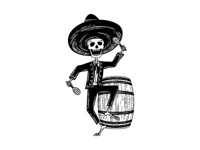 Hard Way Cider Illustration—Loco Blanco wood cut branding label design label packaging packaging design dancing anejo tequila maracas day of the dead mariachi band mariachi skeleton barrel hard cider cider illustration black and white