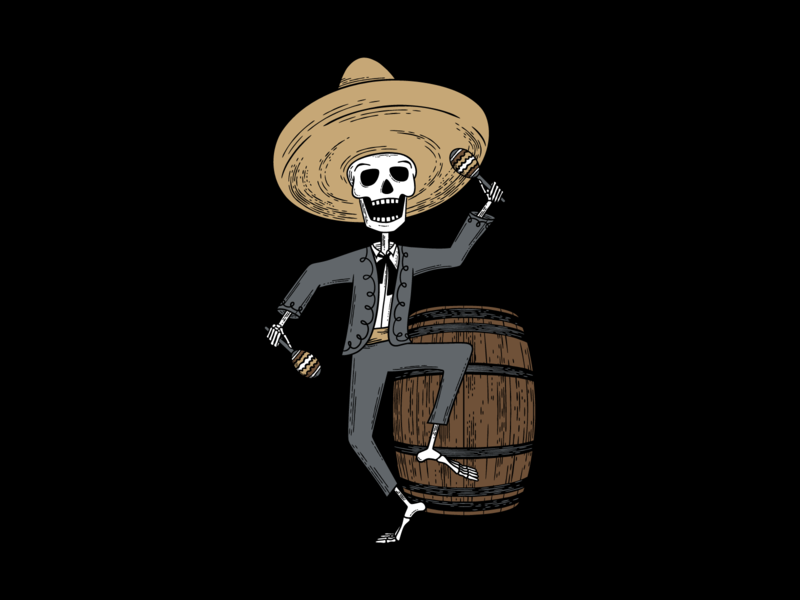 Hard Way Cider Illustration—Loco Blanco wood cut tequila skeleton package design packaging mariachi band mariachi maracas label design label illustration hard cider day of the dead dancing cider hand drawn anejo branding