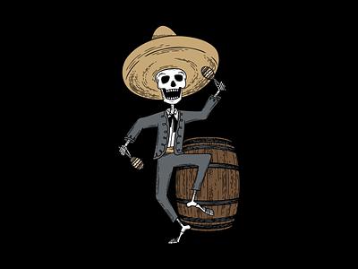 Hard Way Cider Illustration—Loco Blanco wood cut tequila skeleton package design packaging mariachi band mariachi maracas label design label illustration hard cider day of the dead dancing cider hand drawn anejo branding