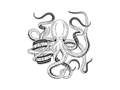 Hard Way Cider Illustration—Ramboozle raspberry kraken octopus caribbean rum packaging design packaging label design label illustrator wood cut hand drawn illustration hard cider cider branding black and white barrel
