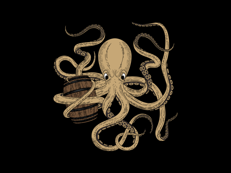 Hard Way Cider Illustration—Ramboozle wood cut rum raspberry octopus packaging design packaging label design label kraken illustration illustrator hand drawn hard cider cider caribbean branding barrel