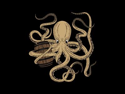 Hard Way Cider Illustration—Ramboozle wood cut rum raspberry octopus packaging design packaging label design label kraken illustration illustrator hand drawn hard cider cider caribbean branding barrel