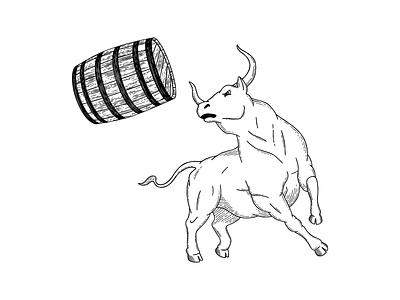 Hard Way Cider Illustration—Rogue fierce bull rogue packaging design packaging label design label illustration wood cut hand drawn hard cider cider branding black and white barrel