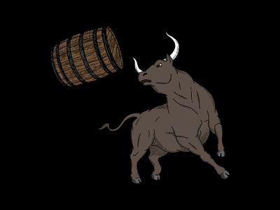 Hard Way Cider Illustration—Rogue rogue packaging design packaging label design label fierce wood cut hand drawn hard cider cider bull branding barrel