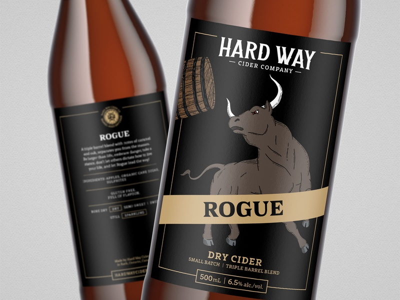 Rogue // Hard Way Cider rogue hand drawn fierce branding brand design barrel wood cut bottle cider hard cider bull packaging packaging design label design illustration