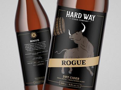 Rogue // Hard Way Cider rogue hand drawn fierce branding brand design barrel wood cut bottle cider hard cider bull packaging packaging design label design illustration