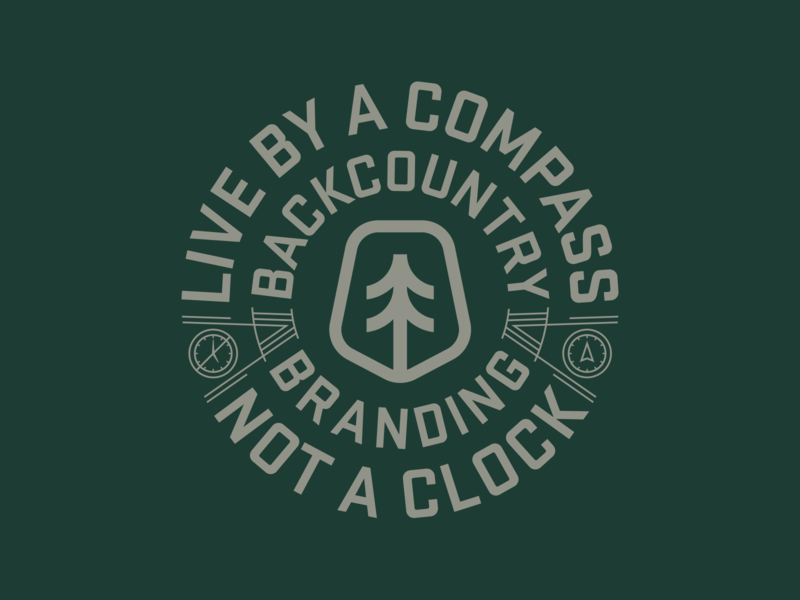 Live by a Compass logo inspirations graphic design design typography logo lifestyle live brand design apparel logo clock compass tree monoline vector illustration apparel design branding backcountry apparel