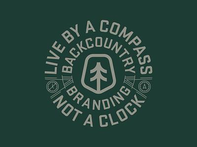 Live by a Compass logo inspirations graphic design design typography logo lifestyle live brand design apparel logo clock compass tree monoline vector illustration apparel design branding backcountry apparel