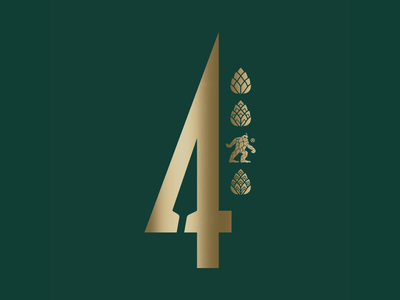 Four India Session Ale beer branding session ale beer can can design 4 gold green beer design packaging design spear sasquatch hops beer vector logo packaging illustration