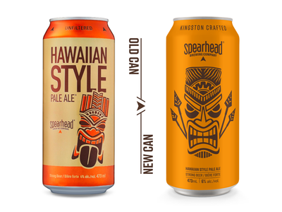 Hawaiian Style Pale Ale ipa spearhead craft beer orange pale ale beer can beer spear tiki hawaiian design simple wood cut logoinspirations identity hand drawn packaging design packaging branding illustration
