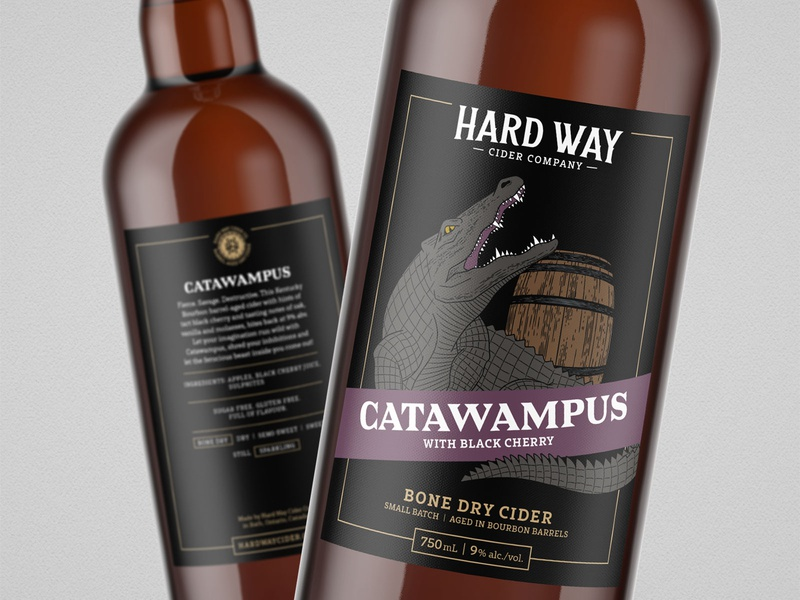 Catawampus // Hard Way Cider catawampus alligator crocodile wood cut simple logoinspirations label design hand drawn packaging design cider packaging branding illustration