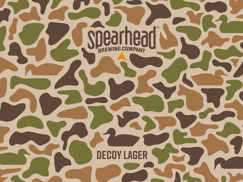 Decoy Lager camouflage camo hunter mallard spearhead beer conservation ducks unlimited hunting duck decoy identity design vector label design logo branding illustration packaging design packaging