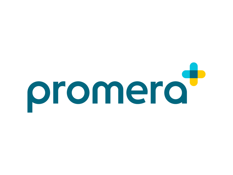 Promera Logo engage connect transparent cross care blockchain doctor medical healthcare heart typography vector design logo branding