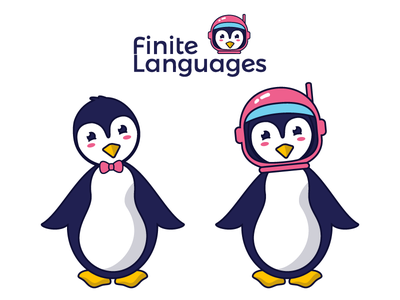 Penguin Mascot mascot yellow app language penguin blue pink space logo branding illustration illustrator vector