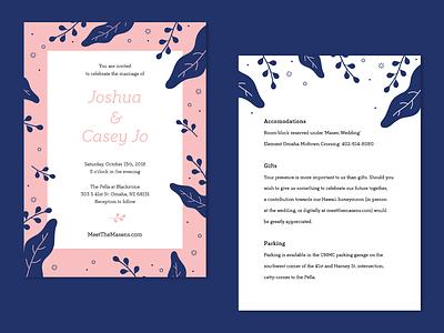 Masen Wedding typography card print announcement wedding invitation invitation wedding pink blue illustration illustrator vector