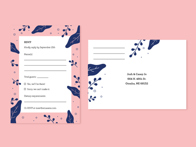 Masen Wedding RSVPs print card wedding invite plants icon design typography pink blue illustration illustrator vector