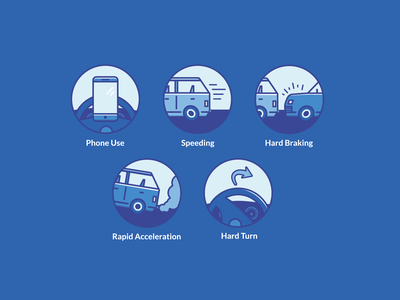 Fairmatic Insurance Icons behavior phone insurance iconography icon cars branding blue illustrator vector