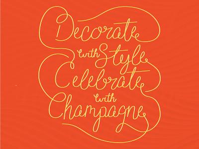 Lettering #2 texture celebrate decorate champagne lettering orange yellow handlettering illustrator vector