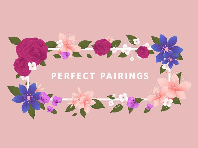 Perfect Pairings pink floral design illustration vector illustraion inforgraphic