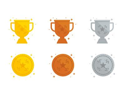 Trophy Bling badges tokens gamification sparkle bronze silver gold coin illustration illustrator vector