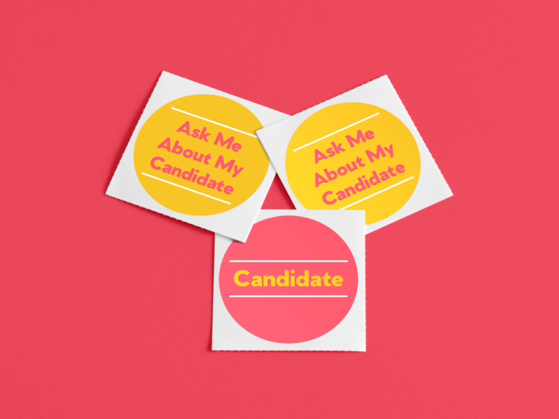 Ask Me About My Candidate stickers pins typography politics midwest women yellow pink logo branding