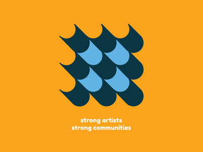 Strong Artists Strong Communities nonprofit brochure creative bauhaus arts abstract blue orange illustration vector illustrator typography branding
