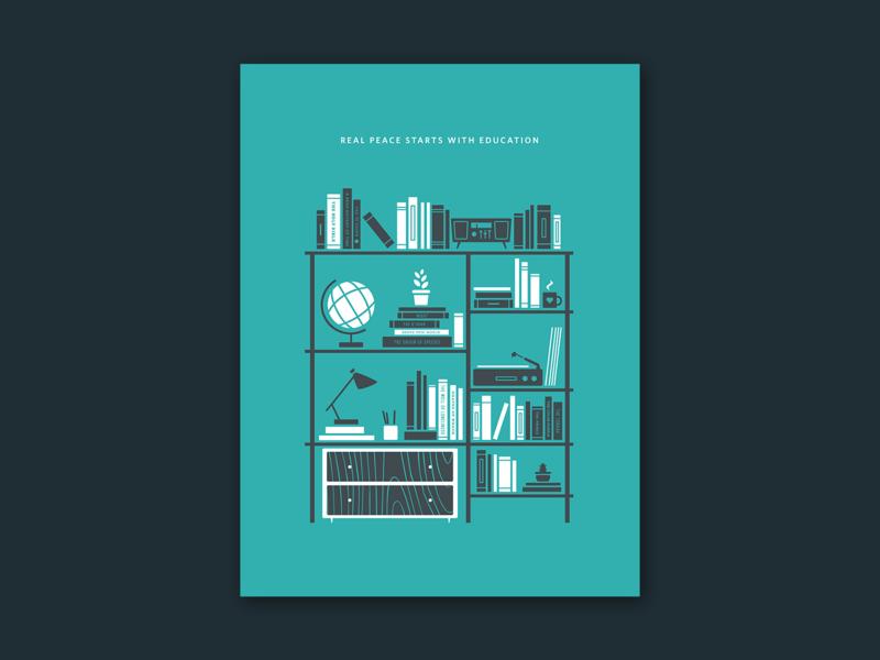Never Stop Reading nonprofit activism education politics home decor bookshelf books blue illustrator illustration vector poster