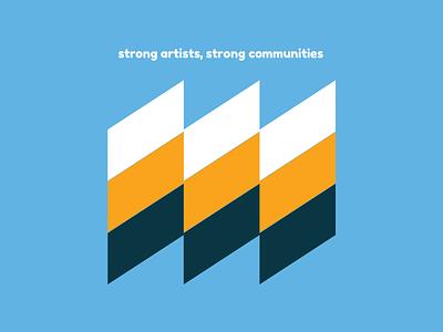 Strong Artists Strong Communities community bauhaus arts brochure blue orange typography branding illustration vector illustrator
