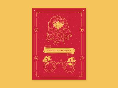 Protect the Vote key handcuffs america eagle paper screen print vote red yellow illustration illustrator vector