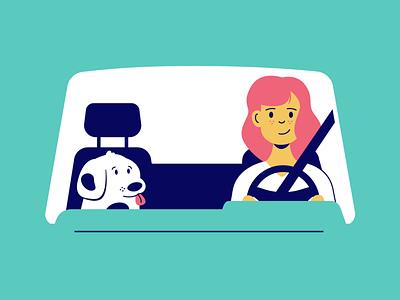 Cruisin app illustration brand design illustration product design vector navy blue pink teal driving dog car