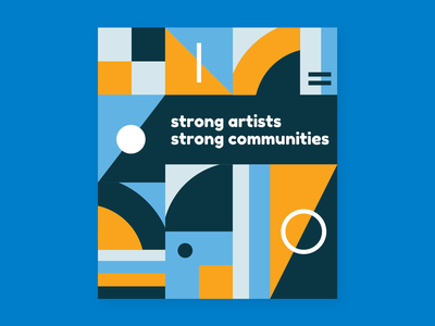 Strong Artists Strong Communities nonprofit arts orange typography branding blue illustrator vector