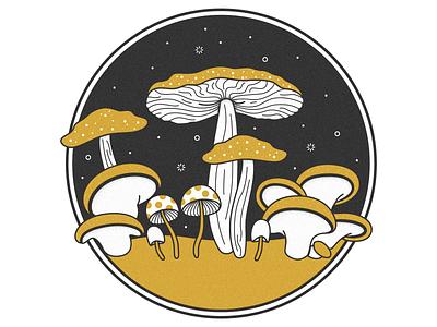 Magic of the Mushrooms concept vector texture nature magic black gold yellow mushroom