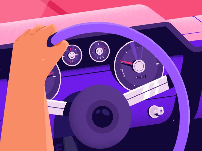Wondercar wonderlust driver car illustration