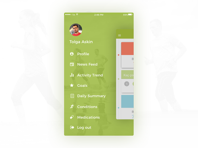 Life Coach App Side Menu mobile menu drawer android ios application coach life side navigation menu
